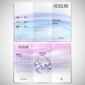 Vector set of tri-fold brochure design template on both sides with world globe element. Abstract blue wave, light style background — Stockvektor