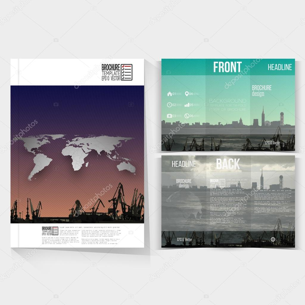 landscape brochure template - shipyard and city landscape brochure tri fold flyer or