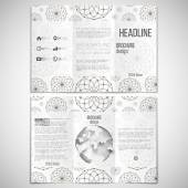 Vector set of tri-fold brochure design template on both sides with world globe element. Dotted modern stylish geometric background, circles and abstract flowers. Simple monochrome vector texture — Stockvektor