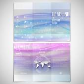 Vector set of tri-fold brochure design template on both sides with world globe element. Abstract blue wave, light style background — Stock Vector