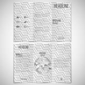 Vector set of tri-fold brochure design template on both sides with world globe element and repeating modern stylish geometric cubes.  Simple abstract monochrome vector texture — Stok Vektör