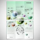 Vector set of tri-fold brochure design template on both sides with world globe element. Three dimensional glowing color spheres, green background. Abstract colorful vitamins. Scientific or medical — Stock Vector
