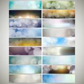 Blurry backgrounds set with bokeh effect. Web banners collection, abstract header layout templates, vector illustration — Stock Vector