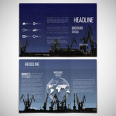 Vector set of tri-fold brochure design template on both sides with world globe element. Shipyard, harbor skyline, dark night style vector illustration — Stockvektor