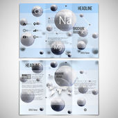 Vector set of tri-fold brochure design template on both sides with world globe element. Three dimensional glowing spheres, blue background. Abstract molecule metals. Scientific background — Stockvektor
