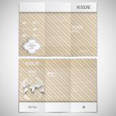 Vector set of tri-fold brochure design template on both sides with world globe element. Vintage style lines beige background. Repeating modern stylish geometric decoration. Simple abstract monochrome — Vetor de Stock