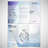 Vector set of tri-fold brochure design template on both sides with world globe element. Abstract blue geometric background, science molecular pattern, triangle style pattern vector — Stockvektor