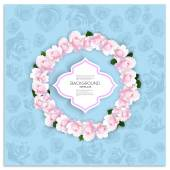 Marriage invitation card with place for text and pink flowers over blue shabby background, vector illustration — Stock Vector