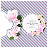 Marriage invitation card with place for text and pink flowers over linear blue background, vector illustration — Stock Vector