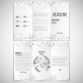 Vector set of tri-fold brochure design template on both sides with world globe element. Molecular black structure, white background. Business or science style, vector illustration — Cтоковый вектор
