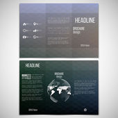 Vector set of tri-fold brochure design template on both sides with world globe element. Abstract blurred background. Colorful hexagonal vector pattern  — Cтоковый вектор