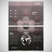 Vector set of tri-fold brochure design template on both sides with world globe element. Abstract pattern, blurred hexagonal background, minimalistic geometric template, vector illustration — Cтоковый вектор