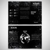 Vector set of tri-fold brochure design template on both sides with world globe element. Molecular white structure, black background. Business or science style, vector illustration — Cтоковый вектор