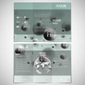 Vector set of tri-fold brochure design template on both sides with world globe element. Three dimensional glowing steel spheres, gray background. Abstract molecule metals. Scientific background — Stok Vektör