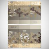 Vector set of tri-fold brochure design template on both sides with world globe element. Hexagonal modern stylish geometric brown background — Cтоковый вектор