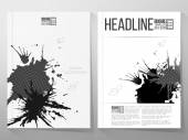 Abstract hand drawn spotted gray-black background with empty place for text message, grunge style illustration. Brochure or flyer vector template — Stock Vector