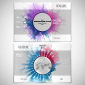 Vector set of tri-fold brochure design template on both sides with world globe element. Abstract circle white banners, watercolor stains and vintage style star burst, vector illustration — Stock Vector