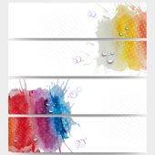 Abstract hand drawn watercolor background with empty place for text message. Web banners collection, abstract header layouts, vector illustration templates — Stock Vector