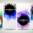 Web banners collection, abstract flyer layouts. Set of colorful flyers with  watercolor stains and place for text, vector illustration templates — Stock Vector #77199403