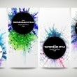 Web banners collection, abstract flyer layouts. Set of colorful flyers with  watercolor stains and place for text, vector illustration templates — Stock Vector #78013694