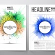 Abstract circle white banners with place for text, watercolor stains, and molecular geometric grid. Business vector templates, brochure, flyer or booklet — Stock Vector #78013916