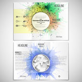 Vector set of tri-fold brochure design template on both sides with world globe element. Abstract colorful banners, watercolor stains  and molecular geometric grid, vector illustration — Stock Vector