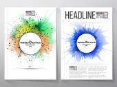 Abstract circle white banners with place for text, watercolor stains, and molecular geometric grid. Business vector templates, brochure, flyer or booklet — Wektor stockowy