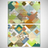 Vector set of tri-fold brochure design template on both sides with world globe element. Abstract colored background, vector illustration — Stock Vector
