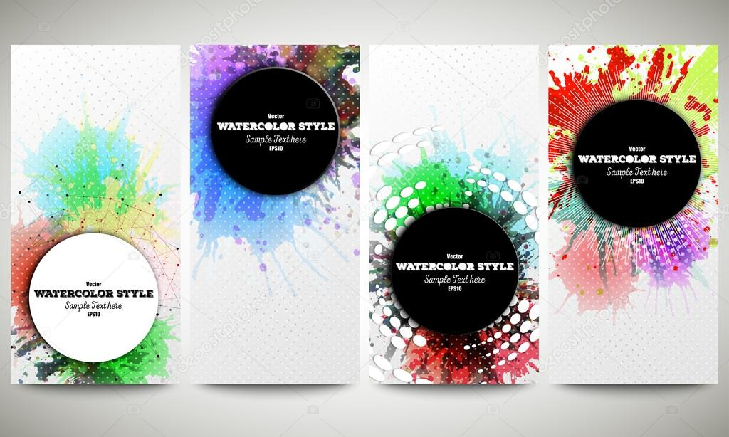 Web banners collection, abstract flyer layouts. Set of colorful ...