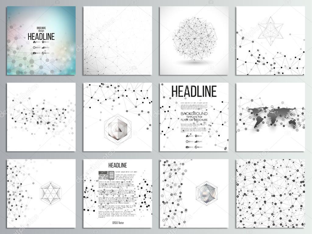 Set of 12 creative cards, square brochure template design ...