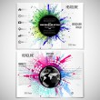 Vector set of tri-fold brochure design template on both sides with world globe element. Abstract circle black banners, watercolor stains  and molecular geometric grid, vector illustration — Stock Vector #79654030