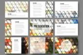 Set of 9 templates for presentation slides. Brown abstract backgrounds. Triangle design vectors — ストックベクタ