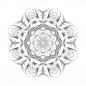 Round ornamental floral vector shape, black pattern isolated on white — Stok Vektör