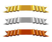 Set of Gold, Silver and Bronze Ribbons — Vecteur