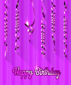 Happy Birthday Background with Gold Streamers. Vector Illustration. — Stock Vector