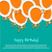 Happy Birthday Paper Balloon Background — Stock Vector