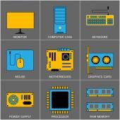 Set of Flat Line Design Icons for Digital Marketing, Promotion, Campaign, Internet Presentation, Programming, Branding and Data Visualisation. — Stock Vector