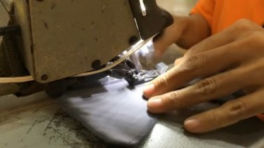 Sewing machine stitching on textile — ストックビデオ
