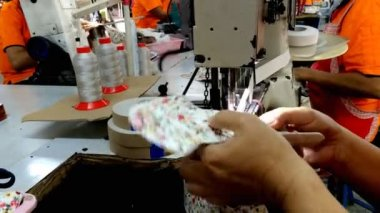Sewing machine stitching on textile — Stock video