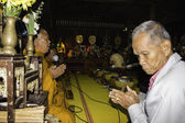 Religious ceremonies and ordination of men to a monk of Thailand Isaan — Stock Photo