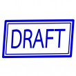 Draft blue stamp text on white — Foto de Stock   #69796693