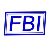 FBI blue stamp text on white background — Stock Photo