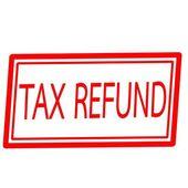 Daňové refundace červené razítko text na bílém pozadí — Stock fotografie