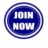 Join now white stamp text on blueblack — Stock Photo