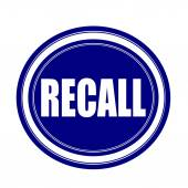Recall white stamp text on blueblack — Stock Photo