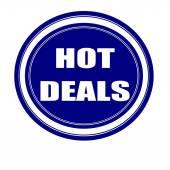 Hot deals white stamp text on blueblack — Stock Photo
