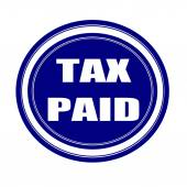 Tax paid white stamp text on blueblack — Stock Photo