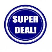 Super deal white stamp text on blueblack — Stock Photo