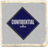 Confidential white stamp text on blue black background — Stock Photo