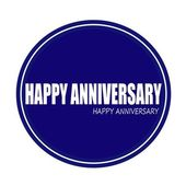 HAPPY ANNIVERSARY white stamp text on blue — Stock Photo